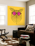 Owl in Pink Glasses Wall Mural by Lisa Kroll