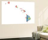 Hawaii Word Cloud Map Wall Mural by  NaxArt