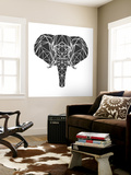 Black Elephant Polygon Wall Mural by Lisa Kroll