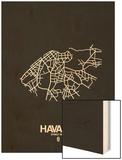 Havana Street Map Black Wood Print by  NaxArt