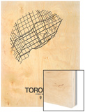 Toronto Street Map White Wood Print by  NaxArt