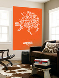 Athens Street Map Orange Wall Mural by  NaxArt