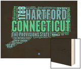 Connecticut Word Cloud 1 Wood Print by  NaxArt