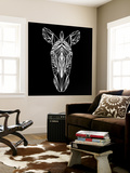 Zebra on Black Wall Mural by Lisa Kroll