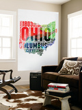 Ohio Watercolor Word Cloud Wall Mural by  NaxArt