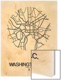 Washington, D.C. Street Map White Wood Print by  NaxArt