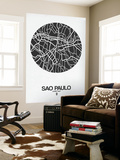 Sao Paulo Street Map Black on White Wall Mural by  NaxArt