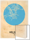 Helsinki Street Map Blue Wood Print by  NaxArt