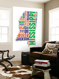 Mississippi Word Cloud Map Wall Mural by  NaxArt