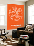 Stockholm Street Map Orange Wall Mural by  NaxArt