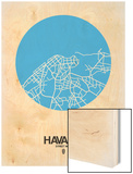 Havana Street Map Blue Wood Print by  NaxArt