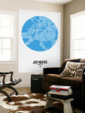 Athens Street Map Blue Wall Mural by  NaxArt