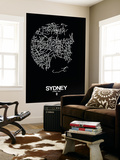 Sydney Street Map Black Wall Mural by  NaxArt