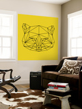 Yellow Raccoon Polygon Wall Mural by Lisa Kroll