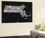 Massachusetts Black and White Map Wall Mural by  NaxArt