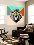 Party Lion in Glasses Wall Mural by Lisa Kroll