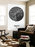 Tokyo Street Map Black on White Wall Mural by  NaxArt