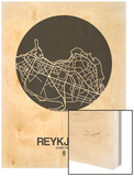Reykjavik Street Map Black on White Wood Print by  NaxArt