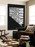 Nevada Black and White Map Wall Mural by  NaxArt
