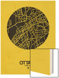 Ottawa Street Map Yellow Wood Print by  NaxArt