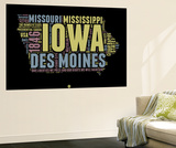 Iowa Word Cloud 1 Wall Mural by  NaxArt
