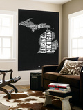 Michigan Black and White Map Wall Mural by  NaxArt