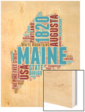 Maine Word Cloud Map Wood Print by  NaxArt