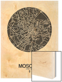 Moscow Street Map Black on White Wood Print by  NaxArt