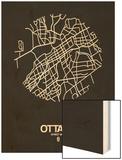 Ottawa Street Map Black Wood Print by  NaxArt