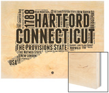 Connecticut Word Cloud 2 Wood Print by  NaxArt