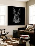 Rabbit on Black Wall Mural by Lisa Kroll