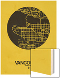 Vancouver Street Map Yellow Wood Print by  NaxArt