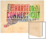 Connecticut Watercolor Word Cloud Wood Print by  NaxArt