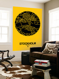 Stockholm Street Map Yellow Wall Mural by  NaxArt