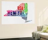 New York Watercolor Word Cloud Wall Mural by  NaxArt