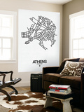 Athens Street Map White Wall Mural by  NaxArt