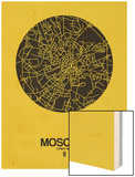 Moscow Street Map Yellow Wood Print by  NaxArt
