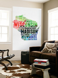 Wisconsin Watercolor Word Cloud Wall Mural by  NaxArt