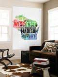 Wisconsin Watercolor Word Cloud Wall Mural by  NaxArt