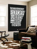 Arkansas Black and White Map Wall Mural by  NaxArt