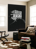 Alaska Black and White Map Wall Mural by  NaxArt