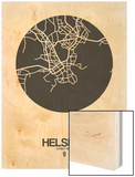 Helsinki Street Map Black on White Wood Print by  NaxArt