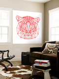Tiger on White Wall Mural by Lisa Kroll