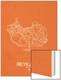 Reykjavik Street Map Orange Wood Print by  NaxArt