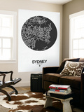 Sydney Street Map Black on White Wall Mural by  NaxArt