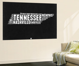 Tennessee Black and White Map Wall Mural by  NaxArt