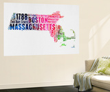 Massachusetts Watercolor Word Cloud Wall Mural by  NaxArt