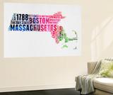 Massachusetts Watercolor Word Cloud Wall Mural by  NaxArt