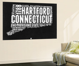 Connecticut Black and White Map Wall Mural by  NaxArt