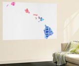 Hawaii Watercolor Word Cloud Wall Mural by  NaxArt